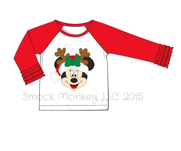 "Girl's applique ""SANTA MOUSE"" white with red ruffle sleeves baseball shirt (18m,2t,3t,4t,7t)"