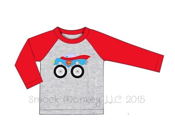 "Boy's applique ""SUPERHERO MONSTER CAR"" gray and red long sleeve baseball shirt (24m,2t,3t,8t)"