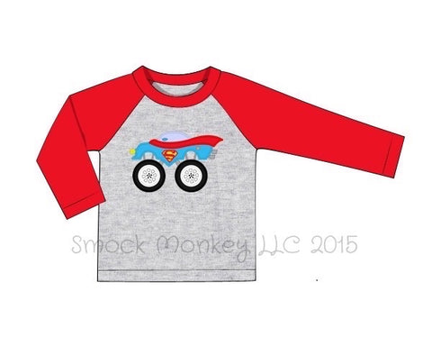 "Boy's applique ""SUPERHERO MONSTER CAR"" gray and red long sleeve baseball shirt (24m,2t,3t,5t,6t,8t)"
