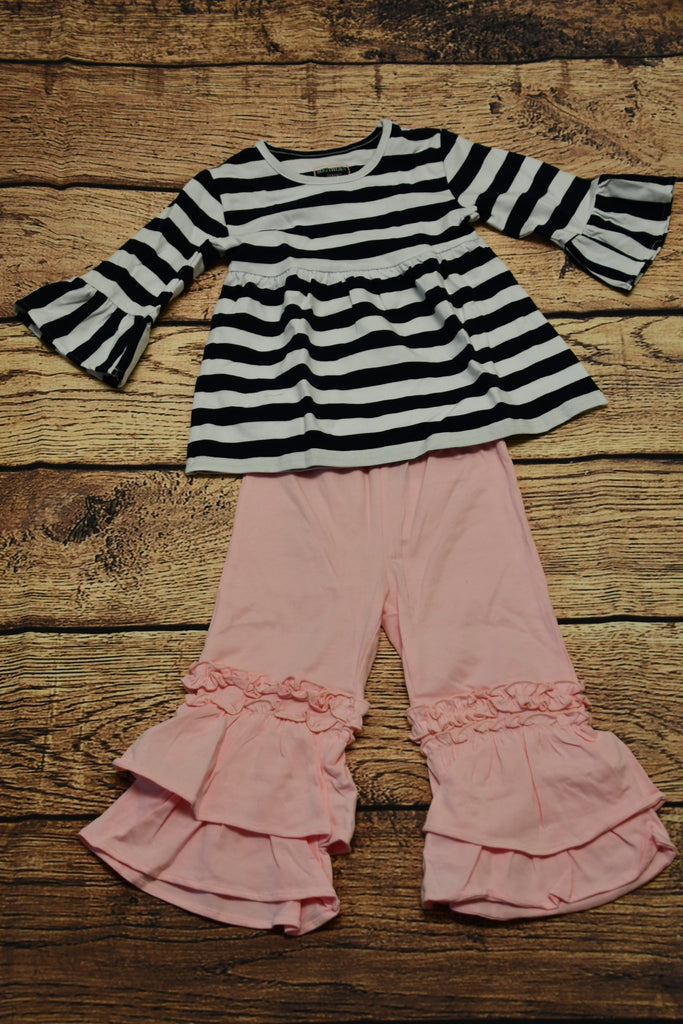GIrl's navy and white striped bell sleeve swing top and pink triple ruffle pants