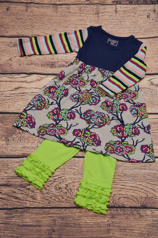 ST Girl's navy, floral and striped swing top and lime green ruffle leggings (12m,2t,7t,10t,12t)
