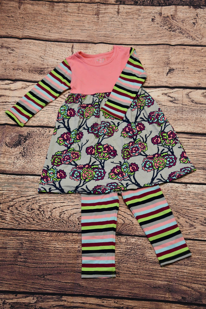 ST Girl's cotton candy pink, floral and striped swing top and striped leggings