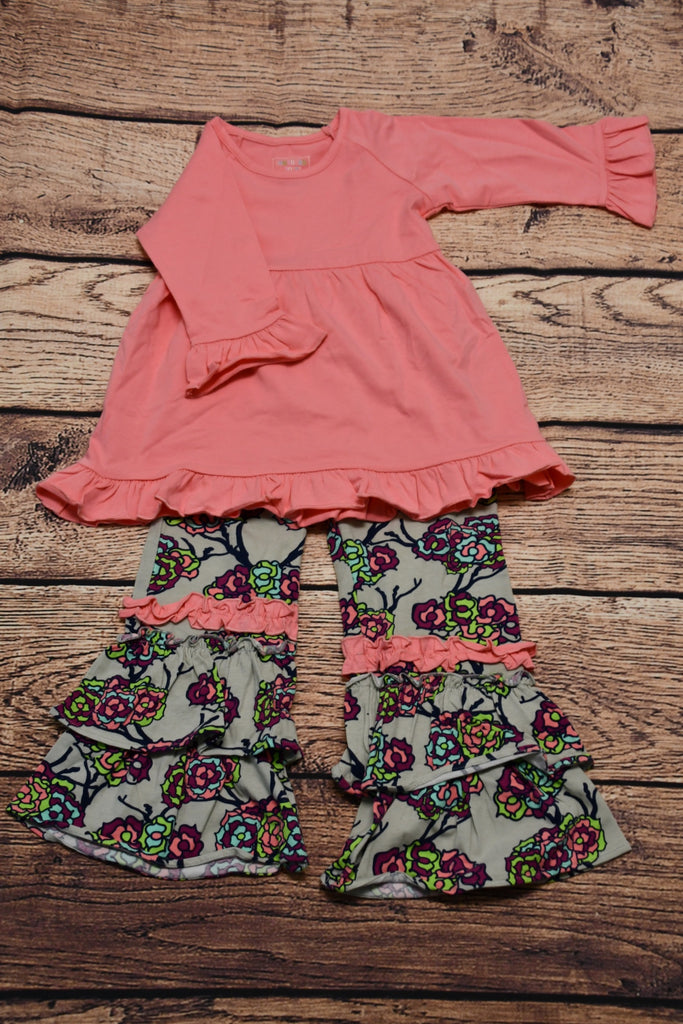 ST Girl's pink ruffle top and floral print long ruffle pants