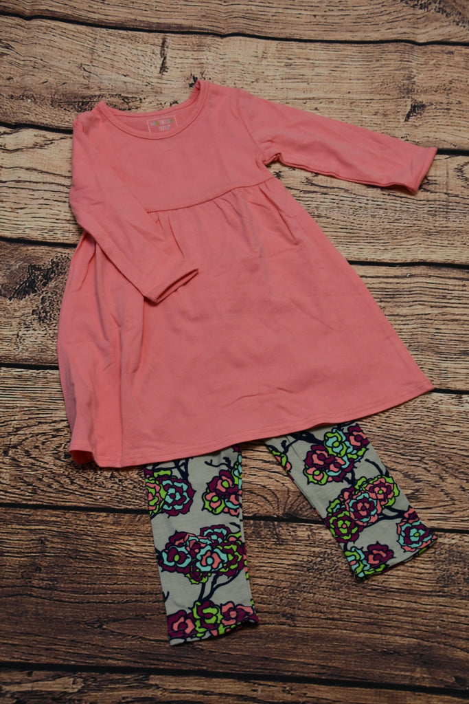 Girl's long sleeve pink swing dress and floral leggings