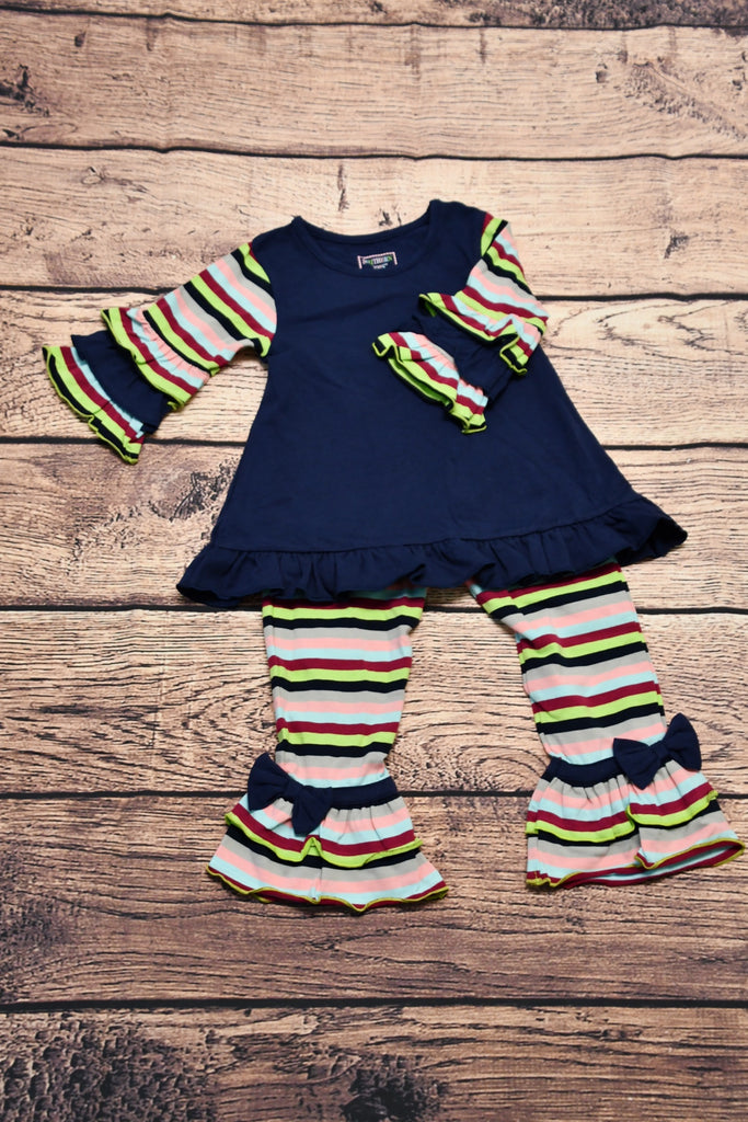 ST Girl's navy and striped swing top with striped ruffle pants