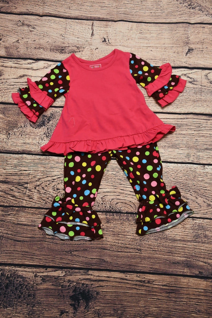Girl's hot pink with polka dot ruffle sleeves and polka dot print ruffle pants