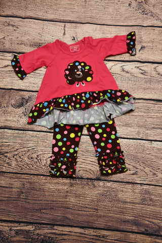 "Girl's ST applique ""TURKEY"" hot pink top and polka dot ruffle leggings (6t,7t)"