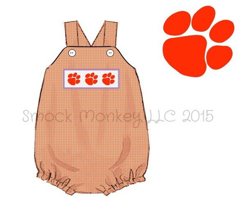 "Boy's smocked ""PAWS"" orange microgingham bubble (3m,6m,9m,12m,18m,2t)"
