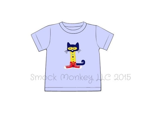 "Boy's applique ""SMART CAT"" baby blue short sleeve shirt (18m,2t,8t)"