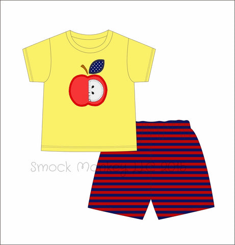 "Boy's applique ""APPLE OF MY EYE"" yellow striped short sleeve shirt and red and navy knit short set (2t,3t,4t,5t,6t,7t)"