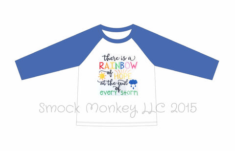 "Boy's applique ""AFTER THE STORM"" white long sleeve with blue sleeve baseball shirt (6m,9m,12m,24m,2t,3t,4t,5t,6t)"