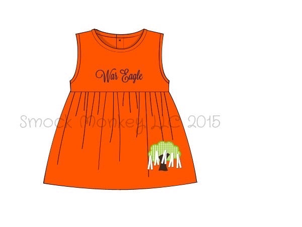 "Girl's applique ""TREE"" orange knit sleeveless swing dress (2t,3t,4t,5t,10t)"