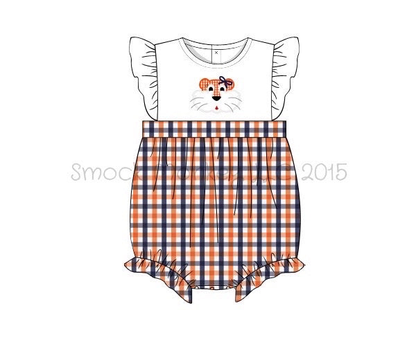 "Girl's applique ""TIGER"" white with orange and navy plaid angel wing bubble (6m,12m,18m,24m,2t,3t,4t)"