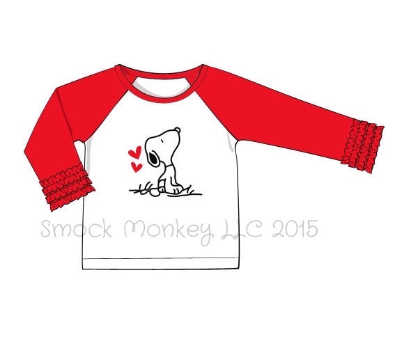"Girl's applique ""P-DOG LOVE"" white baseball shirt with red icing sleeves (18m,2t,3t,4t,6t,10t)"