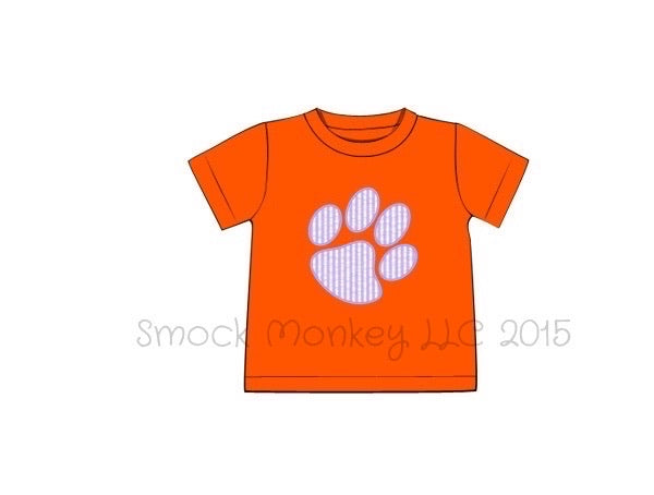 "Boy's applique ""PAW"" orange knit short sleeve shirt (NB,6m,9m,6t,7t)"