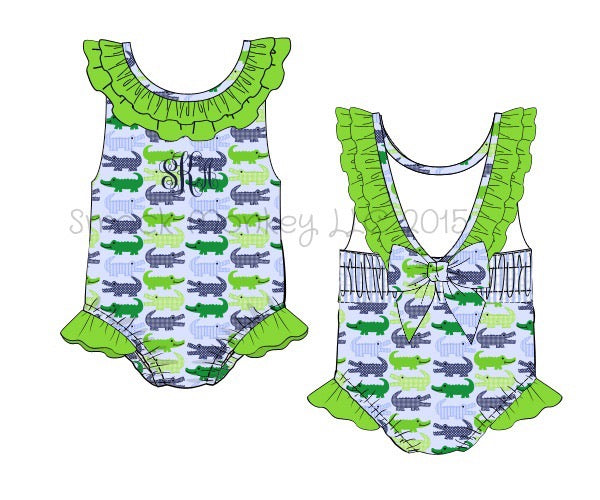 Girl's alligator print ruffle collar one piece swimsuit (NO MONOGRAM) (12m,18m,2t,3t,4t,5t)