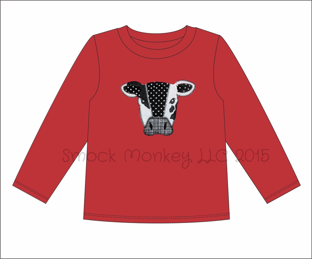 "Boy's applique ""COW"" red long sleeve knit shirt (12m,18m,24m,2t,3t,4t,5t,6t)"