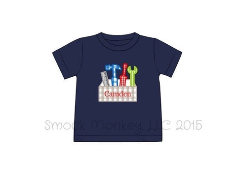 "Boy's applique ""TOOLBOX"" navy knit short sleeve shirt (NO MONOGRAM) (18m,24m,2t,7t)"
