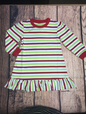 Girl's Christmas striped ruffle nightgown (10t,12t)