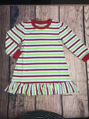 Girl's Christmas striped ruffle nightgown (5t,6t,7t,8t,10t,12t)