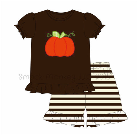 "Girl's applique ""PUMPKIN"" brown knit short sleeve shirt and brown / cream ruffle short set ***see desc (6m,9m)"