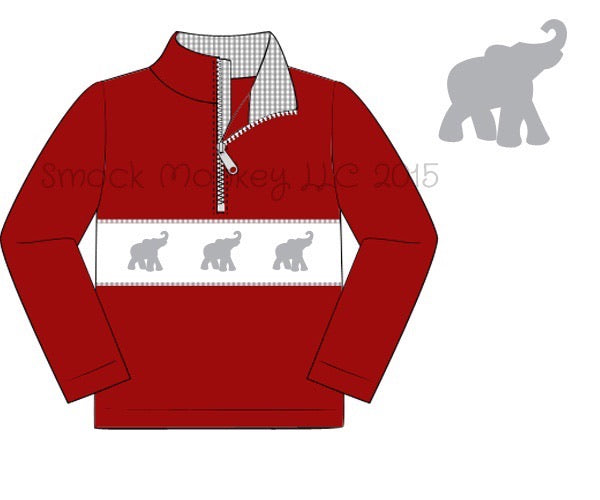 "Boy's smocked ""ELEPHANTS"" garnet knit with gray gingham long sleeve zipped pullover (6m,10t)"