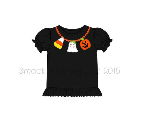 "Girl's applique ""HALLOWEEN NECKLACE"" black short sleeve knit ruffle shirt (18m)"