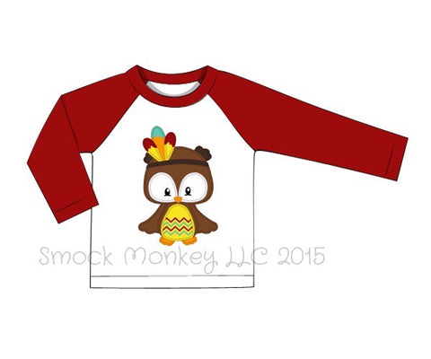 "Boy's applique ""OWL INDIAN"" baseball shirt with garnet sleeves (3m,9m,18m)"