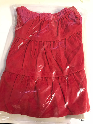 Girl's tiered red corduroy skirt (12m)