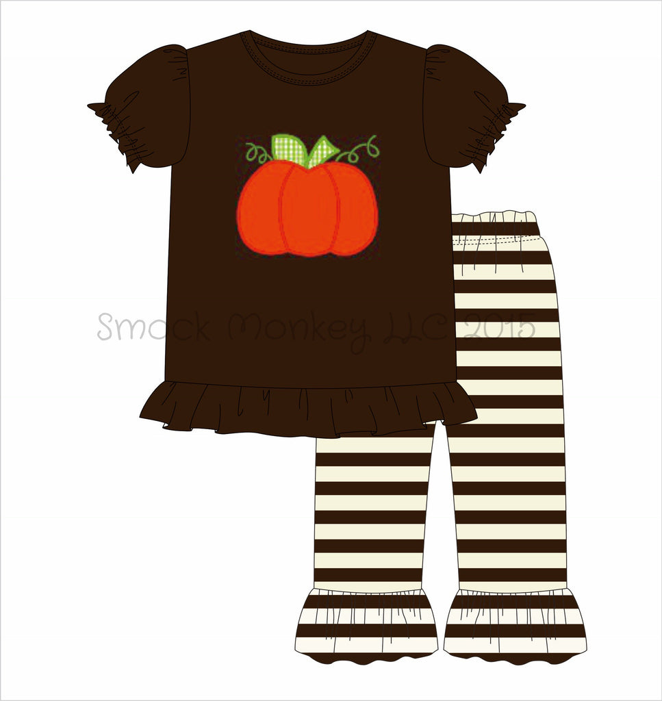 "Girl's applique ""PUMPKIN"" brown knit short sleeve shirt and brown / cream ruffle pant set ***see desc (12m)"