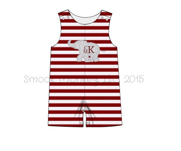 "Boy's applique ""ELEPHANT"" garnet striped knit shortall (NO MONOGRAM) (3m,6m)"