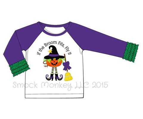 "Girl's applique ""IF THE BROOM FITS"" baseball shirt with purple and lime green ruffle sleeves (12m,18m,24m,2t,4t,10t)"