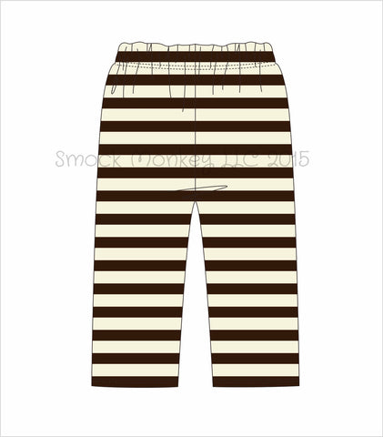 Boy's brown and cream striped knit pants ***see desc (9m,12m,18m,24m,2t,3t,4t,5t,6t)
