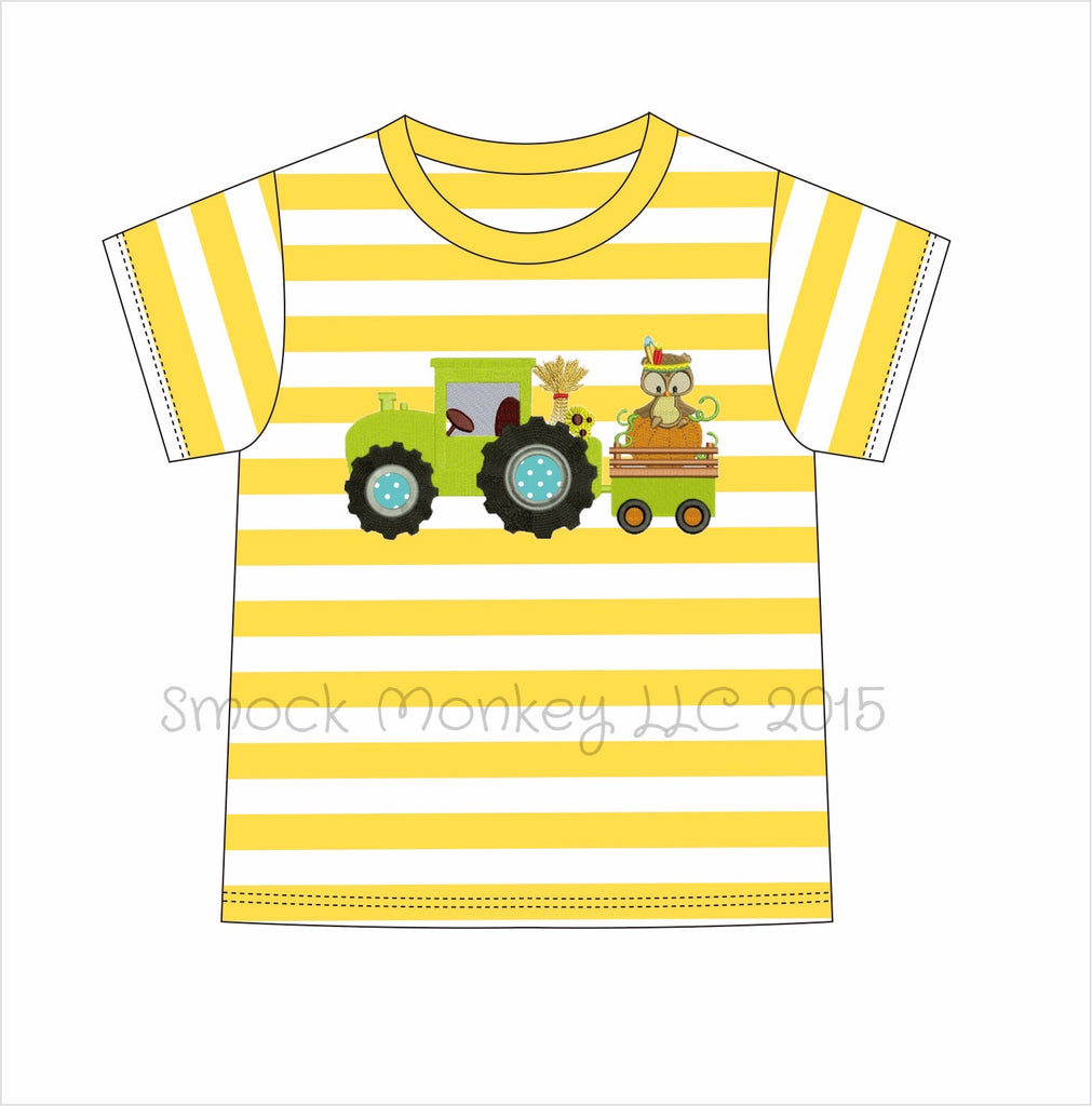 "Boy's applique ""INDIAN ON A TRACTOR"" yellow striped knit short sleeve shirt*see desc (3m,9m,12m,24m,2t,4t,5t,7t)"