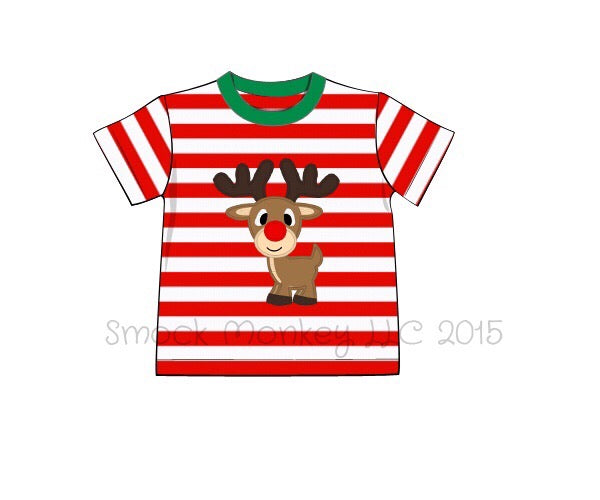 "Boy's applique ""RUDY"" red striped knit short sleeve shirt (3m,12m)"