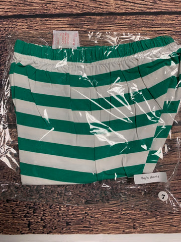 Boy's green striped knit shorts (7t)*