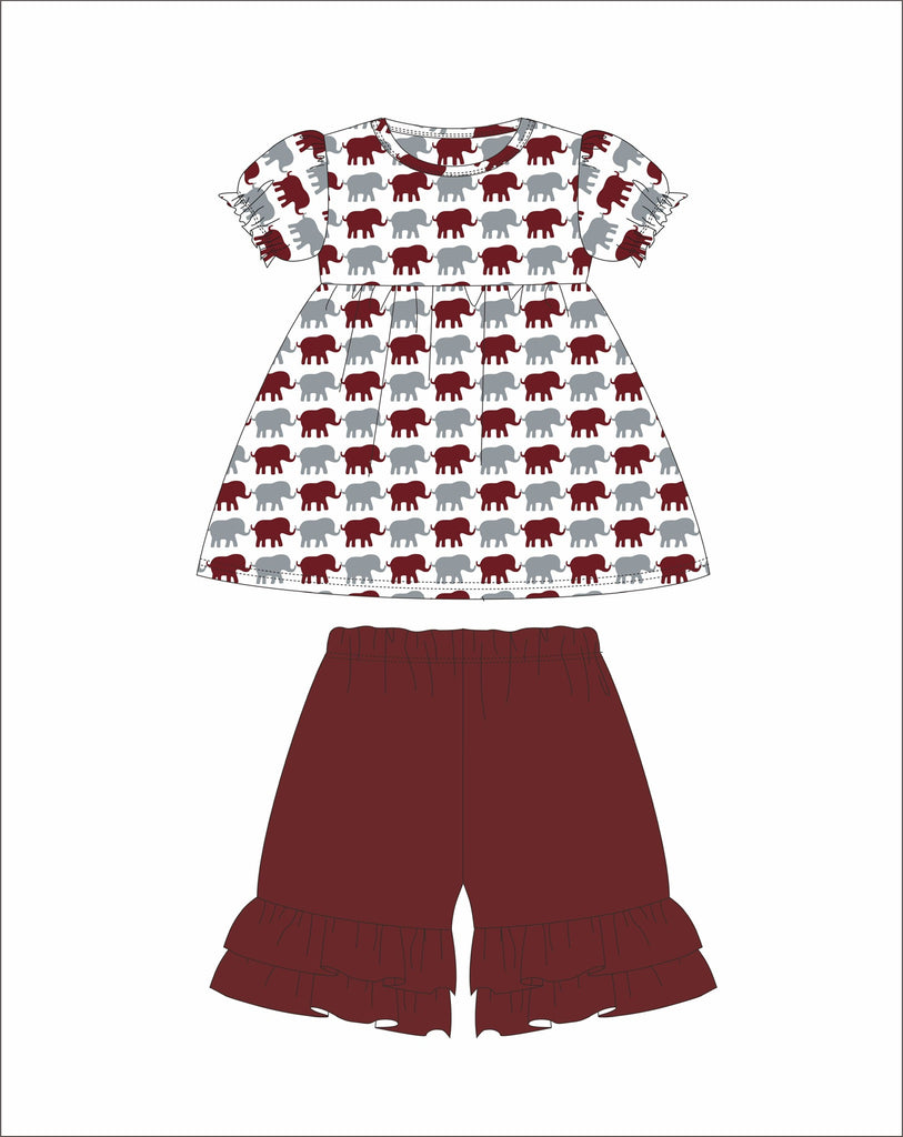 Girl's Elephant Print short sleeve swing top and garnet ruffle shorts (18m,24m,2t,4t,6t)