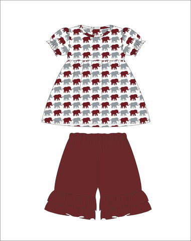 Girl's Elephant Print short sleeve swing top and garnet ruffle shorts (18m,24m,2t,3t,4t,5t,6t,7t)