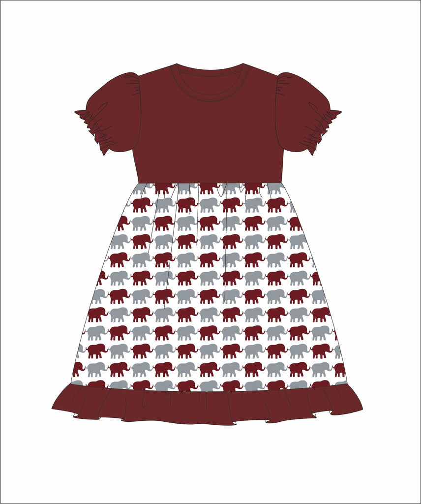 Girl's Garnet and Elephant Print short sleeve swing dress (6m,12m,18m,24m,2t,5t,6t,7t,8t)