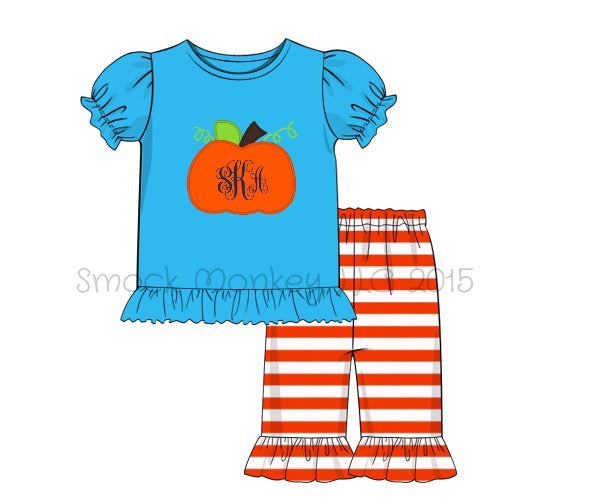 "Girl's applique ""PUMPKIN"" aqua short sleeve ruffle shirt and orange striped Capri pant set (NO MONOGRAM) (9m,18m,24m,5t)"