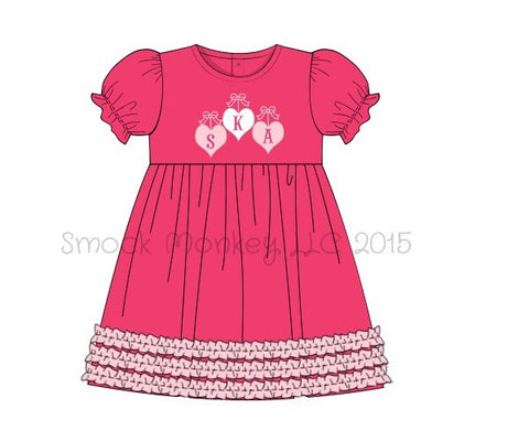 "Girl's applique ""HANGING HEARTS"" hot pink knit short sleeve swing dress (NO MONOGRAM) (18m,24m,2t,4t,7t,8t)"