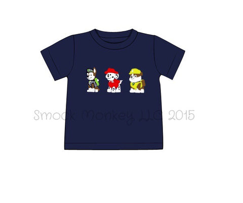 "Boy's applique ""PAW FRIENDS"" navy short sleeve knit shirt (7t,8t,10t)"