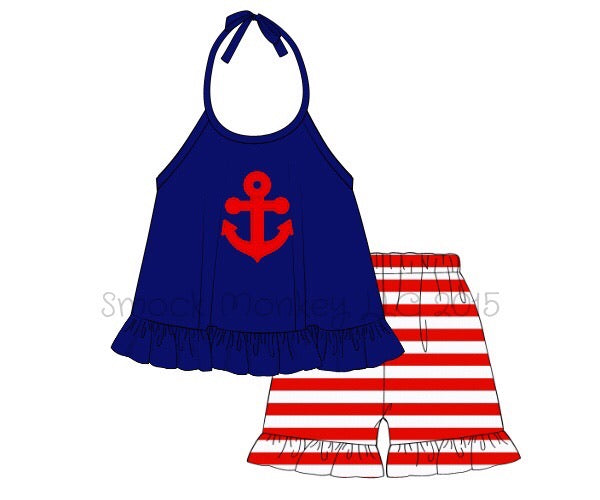 "Girl's applique ""ANCHOR"" royal blue navy tank top and red striped knit ruffle shorts (12m,18m,2t,3t,8t)"