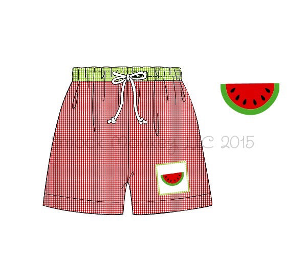 "Boy's smocked ""WATERMELON"" red microgingham with lime green microgingham waistband swim trunks (10t)"