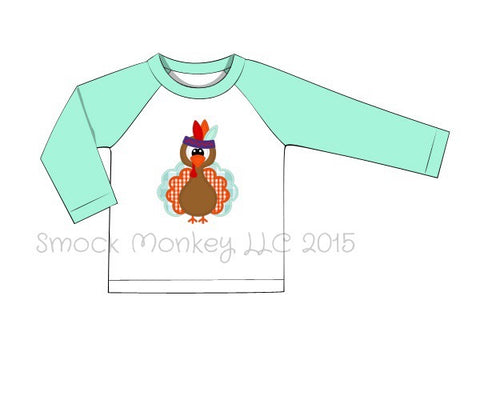 "Boy's applique ""INDIAN TURKEY"" white baseball shirt with mint sleeves (24m,2t,3t,4t,5t,6t)"