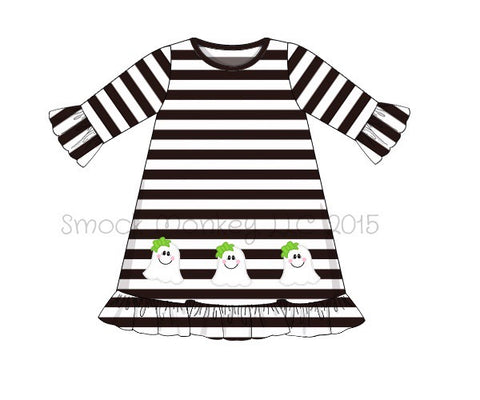 "Girl's applique ""GHOSTS"" black striped 3/4 ruffle sleeve swing dress (NO MONOGRAM) (3m,12m,18m,2t,6t,7t)"