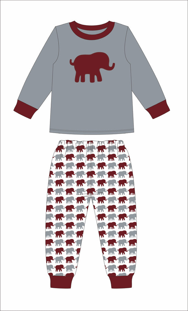 "Boy's applique ""ELEPHANT"" gray with elephant print 2 piece pajama set (6t,7t,8t)"
