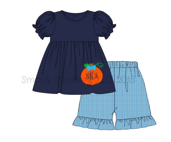 "Girl's applique ""PUMPKIN"" navy swing top and aqua microgingham ruffle short set (NO MONOGRAM) (18m,24m)"