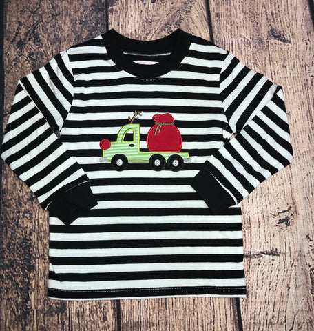 "Boy's applique ""REINDEER TRUCK"" black and white striped knit shirt (SIZE UP) (2t,3t,6t,7t)"