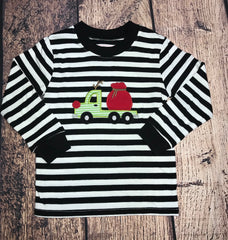 "Boy's applique ""REINDEER TRUCK"" black and white striped knit shirt (SIZE UP) (2t,3t,4t,5t,6t,7t)"